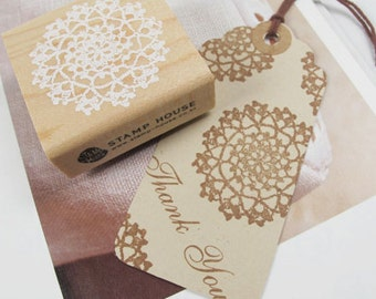 Round Lace Stamp -- Wooden Rubber Stamp -- Diary Stamp -- Deco Stamp -- 1 piece