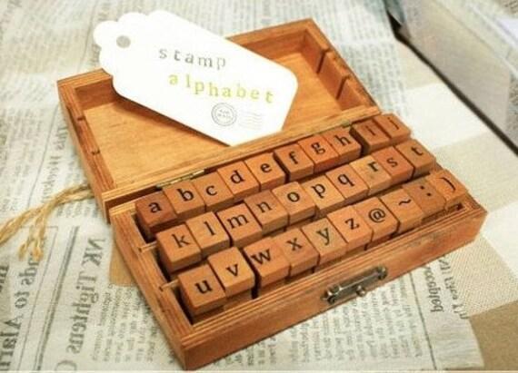 Vintage Alphabet Stamp Set Wooden Rubber Stamps