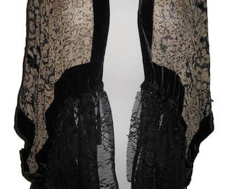 Victorian romantic style short Boho Chic Jacket in Burnout Floral Velvet