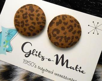 1950s style fluffy leopard stud earrings glitz-o-matic