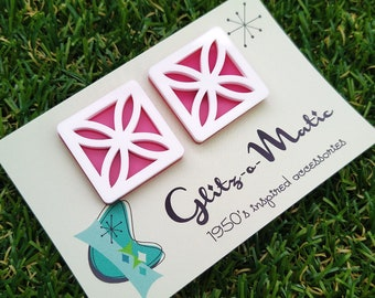1950s style breeze block stud earrings in white and pink glitz-o-matic