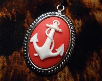 1950s style anchor sailor cameo pendant necklace red Glitz-o-Matic glitzomatic