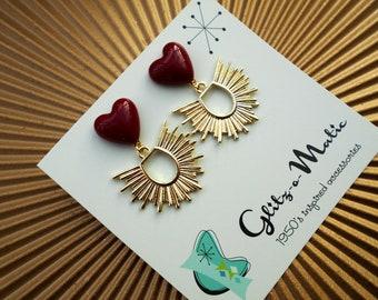 1950s style sacred heart valentine's day earrings glitz-o-matic