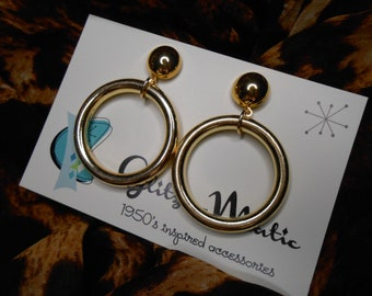 1950s bad girl style gold hoop earrings lightweight glitzomatic