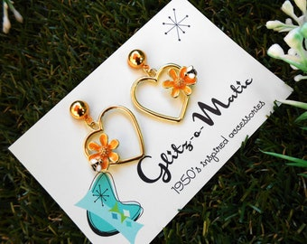 1950s style heart for bees pendant earrings glitz-o-matic