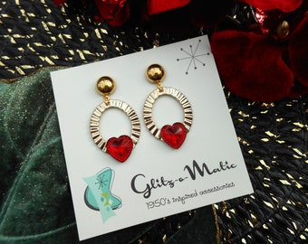 1950s style gold ribbed heart hops valentine's day hoops glitz-o-matic