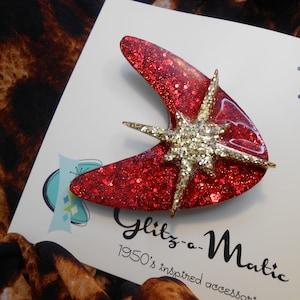 glittery 90s style kawaii blue sparkly star confetti brooch pin set Blue Glitter Moon and Star Pin Set