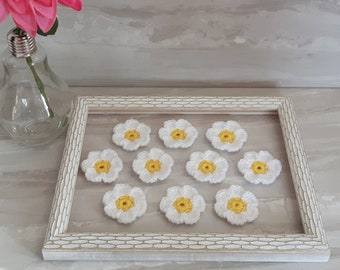 Handmade crochet daisy flowers for weddings party crafts sewing on clothing scrapbooking card making white daisies embellishment applique
