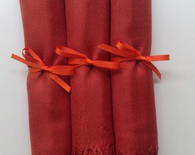 Burnt Orange Shawls with Orange Ribbon, Set of 3, Pashmina, Scarf, Wedding Favor, Bridal Shower Gift, Bridesmaids Gift, Wedding Keepsakes