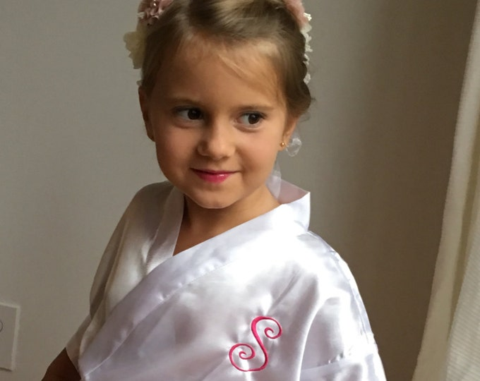 Flower Girl Satin Robes, Set of 2, Junior Bridesmaid Satin Robe, Bridesmaids Gifts, Kids Robe, Bridal Party Robes, Children Satin Robes