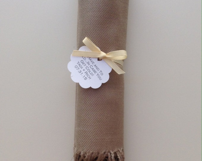 Taupe Shawl with Ivory Ribbon and Scallop Favor Tag, 1, Pashmina, Wedding Favor, Bridal, Bridesmaids Gift, Wraps, Welcome Bags