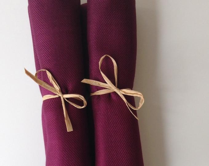 Pashmina, Garnet Burgundy Shawls, Raffia Ribbon, Set of 2, Pashminas, Shawls, Wedding Favors, Bridal Shower Favors, Bridesmaids Gift, Shawls