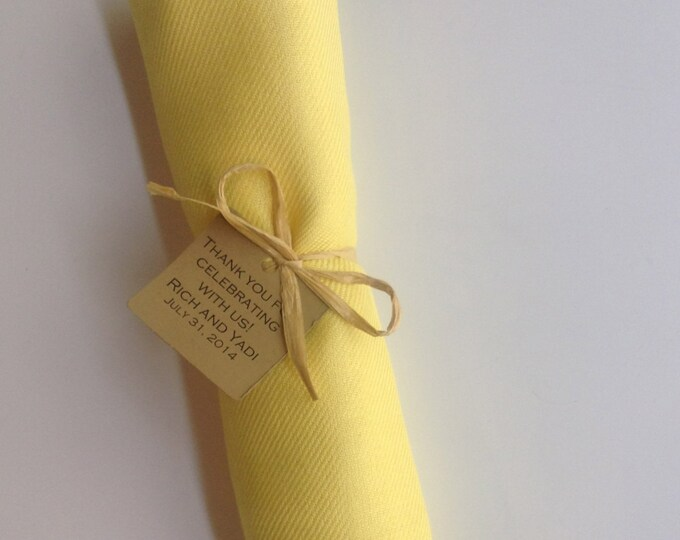 Sunshine Yellow Shawl with Raffia Ribbon and Kraft Favor Tag, 1, Pashmina, Wedding Favor, Bridal, Bridesmaids Gift, Wraps, Welcome Bags