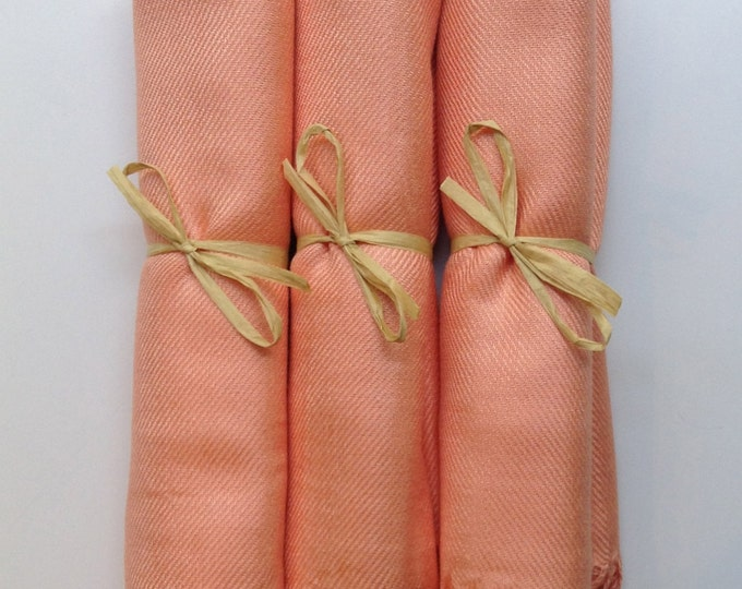 Peach Shawls with Raffia Ribbon, Set of 3, Pashmina, Scarf, Wedding Favor, Bridal Shower Gift, Bridesmaids Gift, Wraps, Welcome Bags