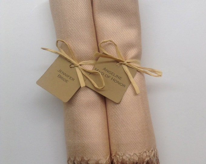 Champagne Shawls with Raffia Ribbon and Kraft Favor Tags, Set of 2, Pashmina, Scarf, Wedding Favor, Bridal Shower Gift, Bridesmaids Gift