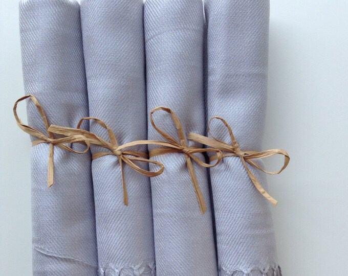 Pashmina, Light Silver Shawls, Raffia Ribbon, Set of 4, Pashminas, Wedding Favors, Bridal Shower Favors, Bridesmaids Gift, Pashmina, Shawls