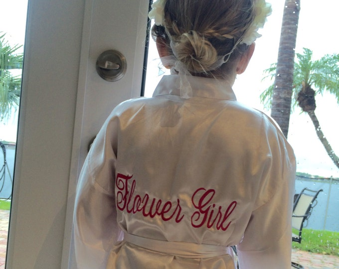 Flower Girl Satin Robe, Junior Bridesmaid Satin Robe, Monogrammed, Bridesmaids Gifts, Kids Robe, Bridal Party Robes, Children Satin Robes