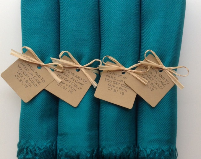 Peacock Blue Shawls with Raffia Ribbon and Kraft Favor Tags, 4, Pashmina, Wedding Favor, Bridal, Bridesmaids Gift, Wraps, Welcome Bags