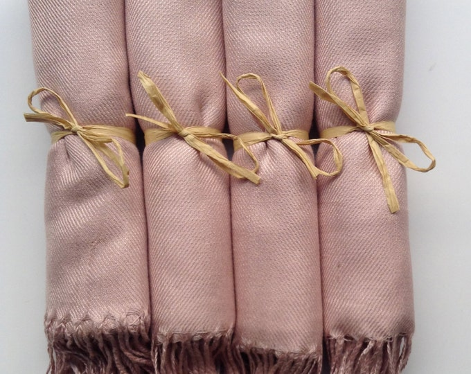 Nude Shawls with Raffia Ribbon, Set of 4, Pashmina, Scarf, Wedding Favor, Bridal Shower Gift, Bridesmaids Gift, Wraps, Welcome Bags