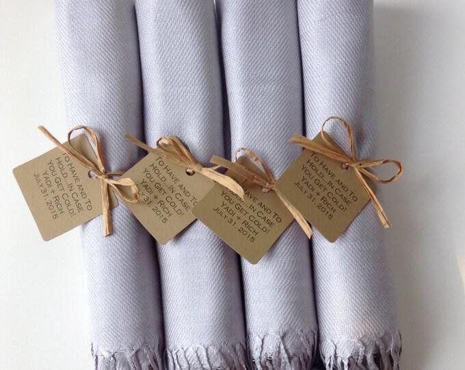 Light Silver Shawls with Raffia Ribbon and Kraft Favor Tags, Set of 4, Pashmina, Scarf, Wedding Favor, Bridal Shower Gift, Bridesmaids Gift