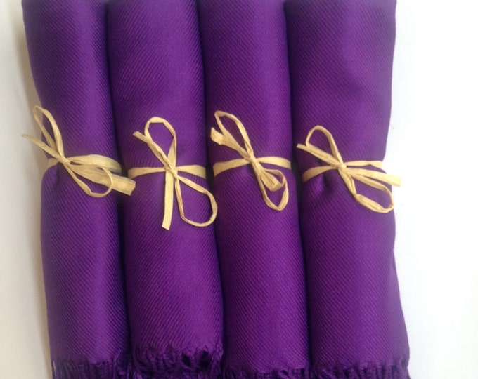 Eggplant Purple Shawls with Raffia Ribbon, Set of 5, Pashmina, Scarf, Wedding Favor, Bridal Shower Gift, Bridesmaid Gift