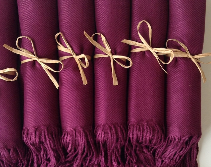 Pashmina, Garnet Burgundy Shawls, Raffia Ribbon, Set of 6, Pashminas, Wedding Favors, Bridal Shower Favors, Bridesmaid Gifts, Pashmina