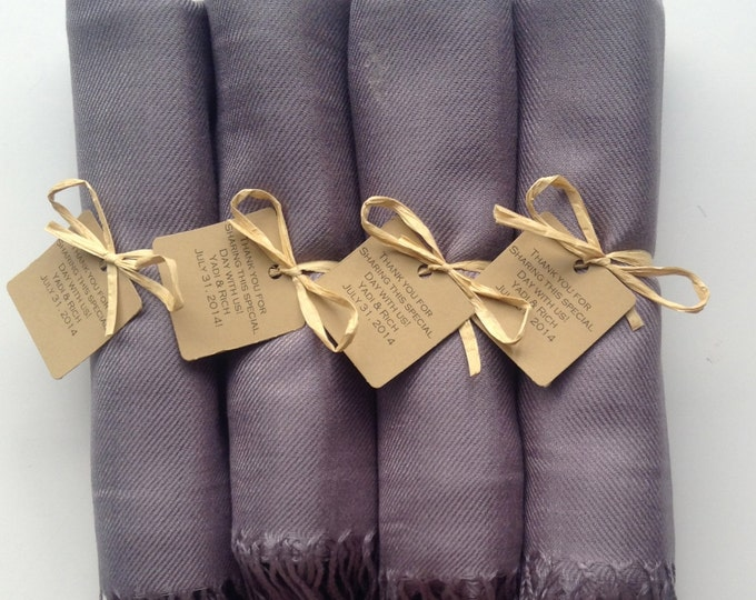Silver Shawls with Raffia Ribbon and Kraft Favor Tags, Set of 4, Pashmina, Wedding Favor, Bridal, Bridesmaids Gift, Wraps, Welcome Bags
