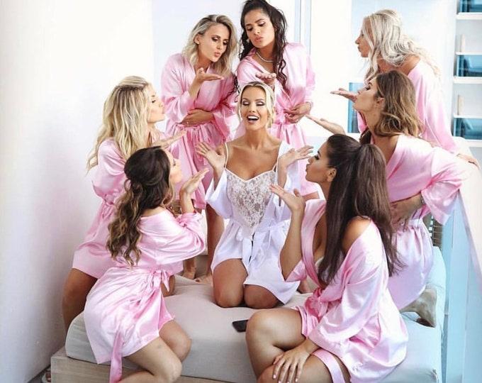 Bridesmaid Robes, Set of 2, Satin Robes, Bridesmaid Gifts, Wedding Party, Monogrammed Bridal Party Robes, Silk Bridesmaid Robes, Silk Robe