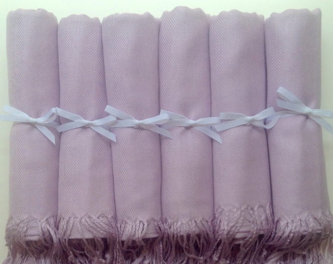 Lilac Shawls with White Ribbon, Set of 6, Pashminas, Scarf, Shawl, Wedding Favor, Bridal Shower Gift, Bridesmaids Gift, Wrap, Welcome Bags