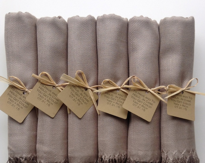 Taupe Shawls with Raffia Ribbon and Kraft Favor Tags, Set of 7, Pashmina, Wedding Favor, Bridal, Bridesmaids Gift, Wraps