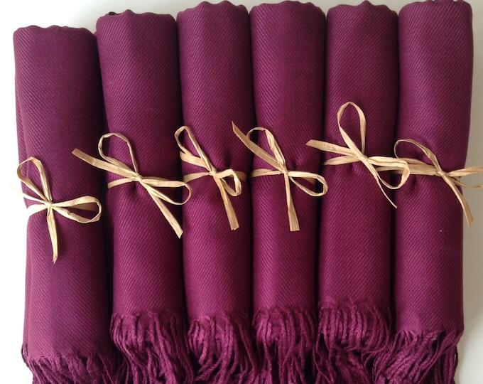 Pashmina, Garnet Burgundy Shawls, Raffia Ribbon, Set of 6, Pashminas, Shawls, Wedding Favors, Bridal Shower Favors, Bridesmaids Gift, Shawls