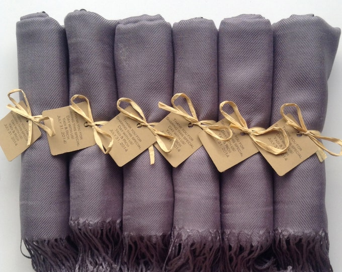 Pashmina, Silver Shawls with Raffia Ribbon, Kraft Favor Tags, Set of 8, Pashminas, Wedding Favor, Bridal, Bridesmaids Gift, Wraps, Shawls