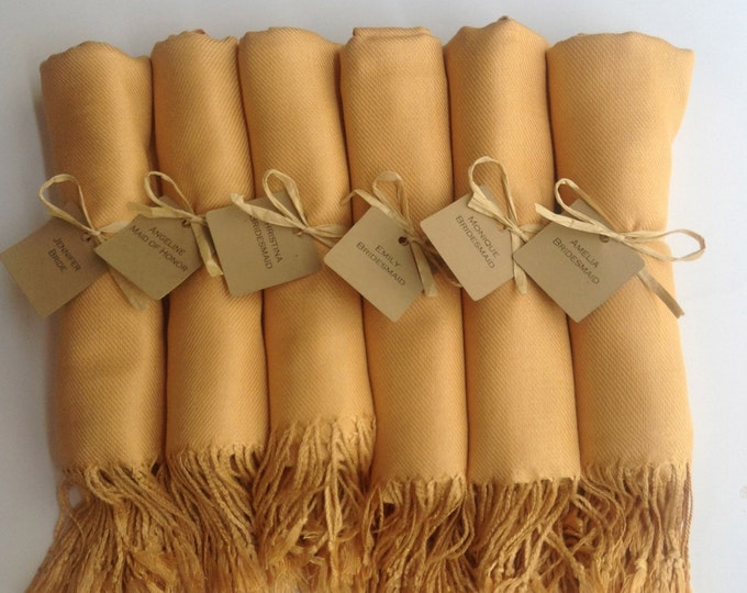 Gold Shawls with Raffia Ribbon and Kraft Favor Tags, Set of 7, Pashmina, Scarf, Wedding Favor, Bridal Shower Gift, Bridesmaids Gift, Wraps,