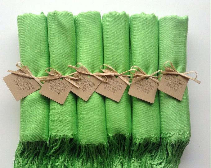 Pashmina, Sour Apple Green Shawls, Raffia Ribbon, Kraft Favor Tags, Set of 6, Pashminas, Wedding Favors, Bridesmaid Gift, Flower Girl Shawl