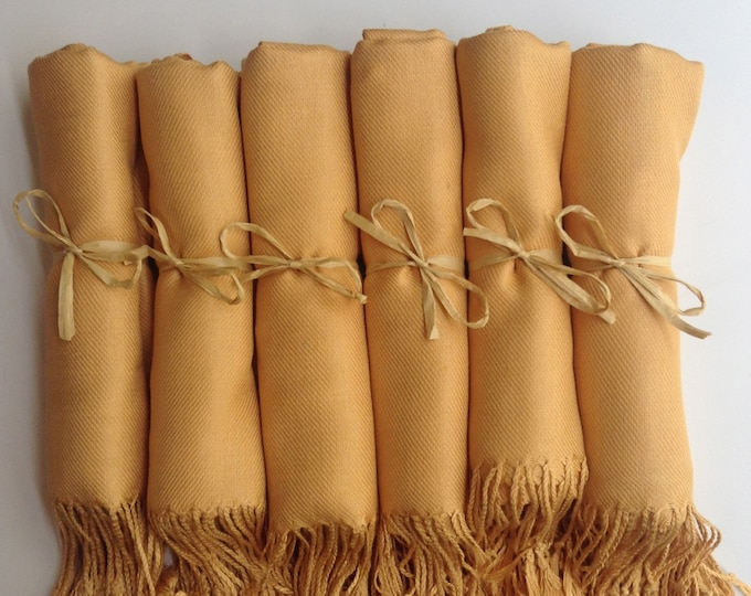 Gold Shawls with Raffia Ribbon, Set of 4, Pashmina, Scarf, Wedding Favor, Bridal Shower Gift, Bridesmaids Gift, Wraps,