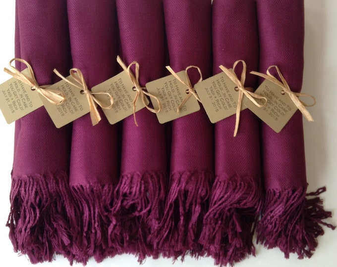 Pashmina, Garnet Burgundy Shawls, Raffia Ribbon, Kraft Favor Tags, Set of 7, Pashminas, Wedding Favors, Bridesmaids Gift, Pashmina, Shawls