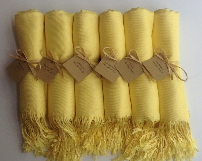 Sunshine Yellow Shawls with Raffia Ribbon and Kraft Favor Tags, Set of 8, Pashmina, Wedding Favor, Bridal, Bridesmaids Gift