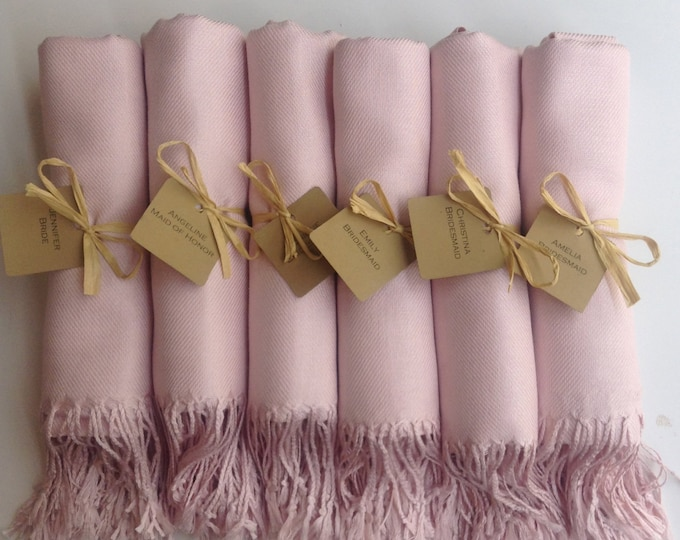 Baby Pink Shawls with Raffia Ribbon and Kraft Favor Tags, Set of 11, Pashmina, Wedding Favor, Bridal, Bridesmaids Gift, Wraps, Welcome Bags
