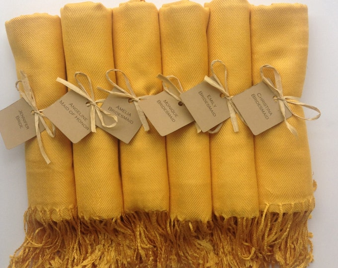 Mustard Yellow Shawls with Raffia Ribbon and Kraft Favor Tags, Set of 5, Pashmina, Wedding Favor, Bridal, Bridesmaids Gift