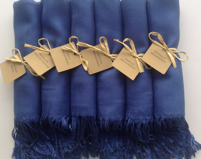 Navy Blue Shawls with Raffia Ribbon and Kraft Favor Tags, Set of 6, Pashmina, Wedding Favor, Bridal, Bridesmaids Gift, Wraps, Welcome Bags