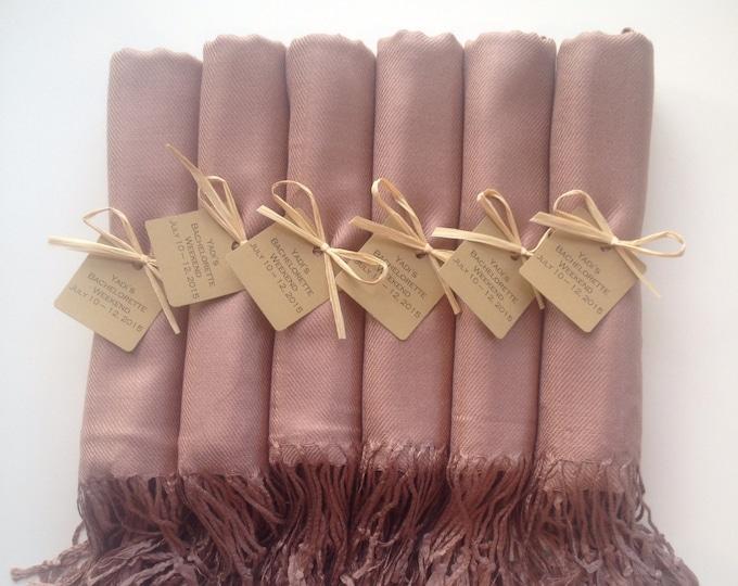 Mocha Shawls with Raffia Ribbon and Kraft Favor Tags, Set of 8, Pashmina, Wedding Favor, Bridal, Bridesmaids Gift, Wraps, Welcome Bags