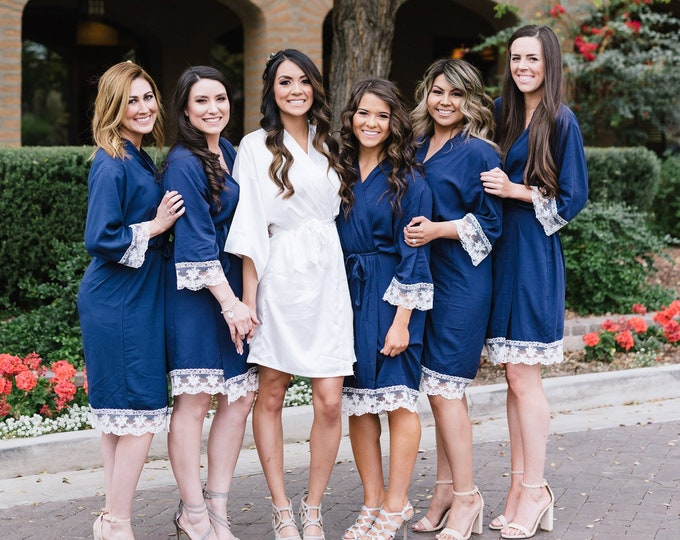 Cotton Robes with Lace, Set of 11, Bridesmaid Robes, Embroidered Cotton Robes, Monogrammed Robes, Cotton Robe, Lace Trim, Wedding Gifts