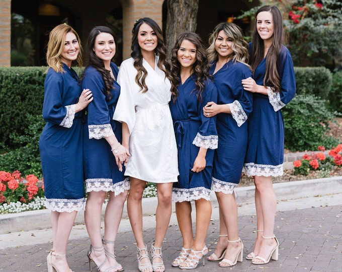 Cotton Robes with Lace, Set of 6, Bridesmaid Robes, Embroidered Cotton Robes, Monogrammed Robes, Cotton Robe, Lace Trim, Wedding Gifts