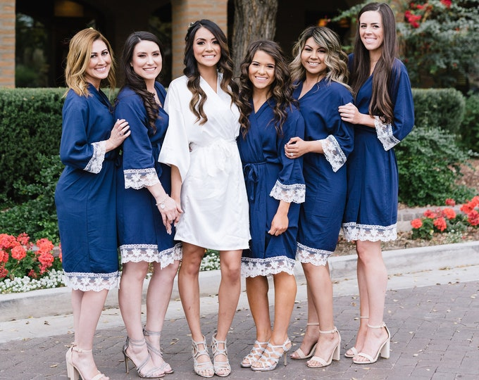 Cotton Robes with Lace Set of 1 2 3 4 5 6 7 8 9 10, Embroidered Cotton Robes, Monogrammed Robes, Cotton Robe, Lace Trim, Bridesmaids Gifts