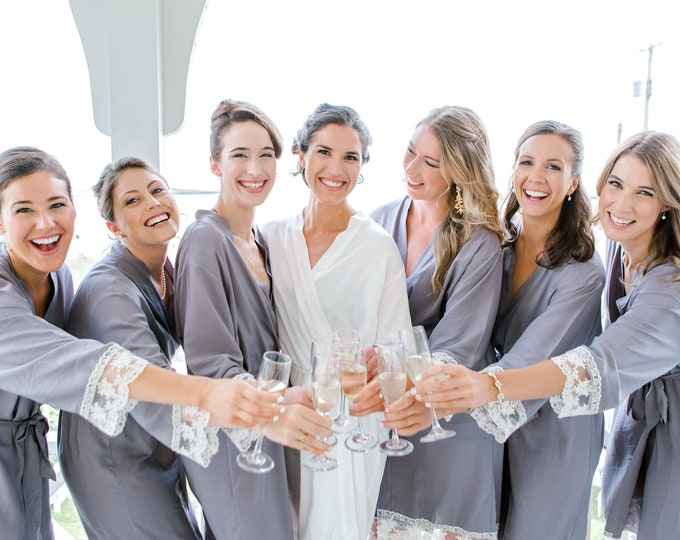 Bridesmaid Robe, Cotton Robes, Lace, Set of 12, Bridesmaids Robes, Cotton Robes, Monogrammed Robes, Cotton Robe, Lace Trim, Bridesmaid Gift