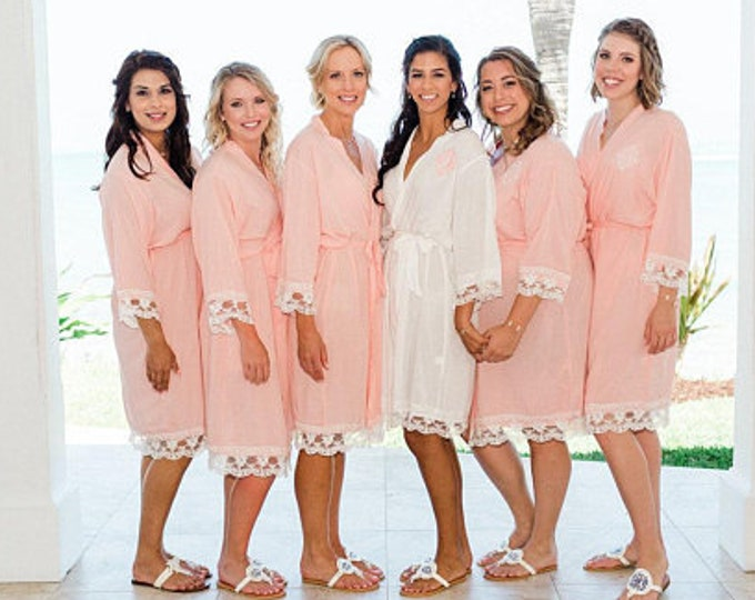 Cotton Robes with Lace, Set of 14, Bridesmaid Robes, Embroidered Cotton Robes, Monogrammed Robes, Cotton Robe, Lace Trim, Wedding Gifts
