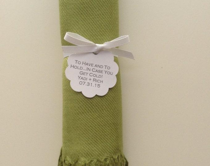 Lime Green Shawl with White Ribbon and Scallop Favor Tag, 1, Pashmina, Wedding Favor, Bridesmaids Gift, Wraps, Wedding Keepsakes