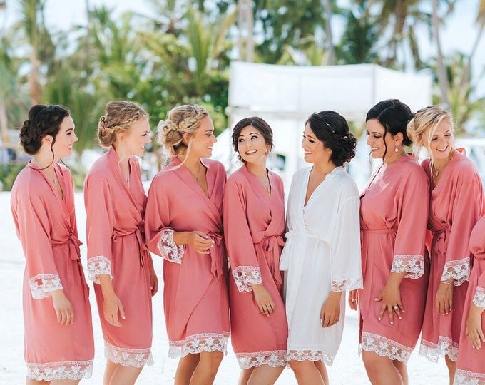 Bridesmaid Robe, Cotton Robes, Lace, Set of 11, Bridesmaid Robes, Bridesmaid Gift, Monogrammed Robes, Cotton Robe, Lace Trim, Wedding Gifts