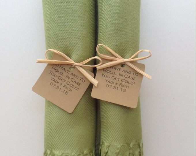 Lime Green Shawls with Raffia Ribbon and Kraft Favor Tags, Set of 2, Pashminas, Wedding Favors, Bridal, Bridesmaids Gift, Wedding Shawls