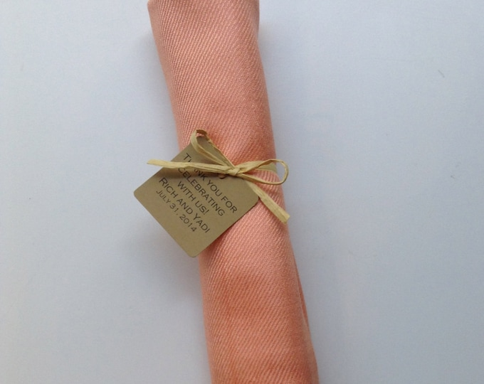 Peach Shawl with Raffia Ribbon and Kraft Favor Tag, 1, Pashmina, Wedding Favor, Bridal Shower Gift, Bridesmaids Gift, Wraps, Welcome Bags
